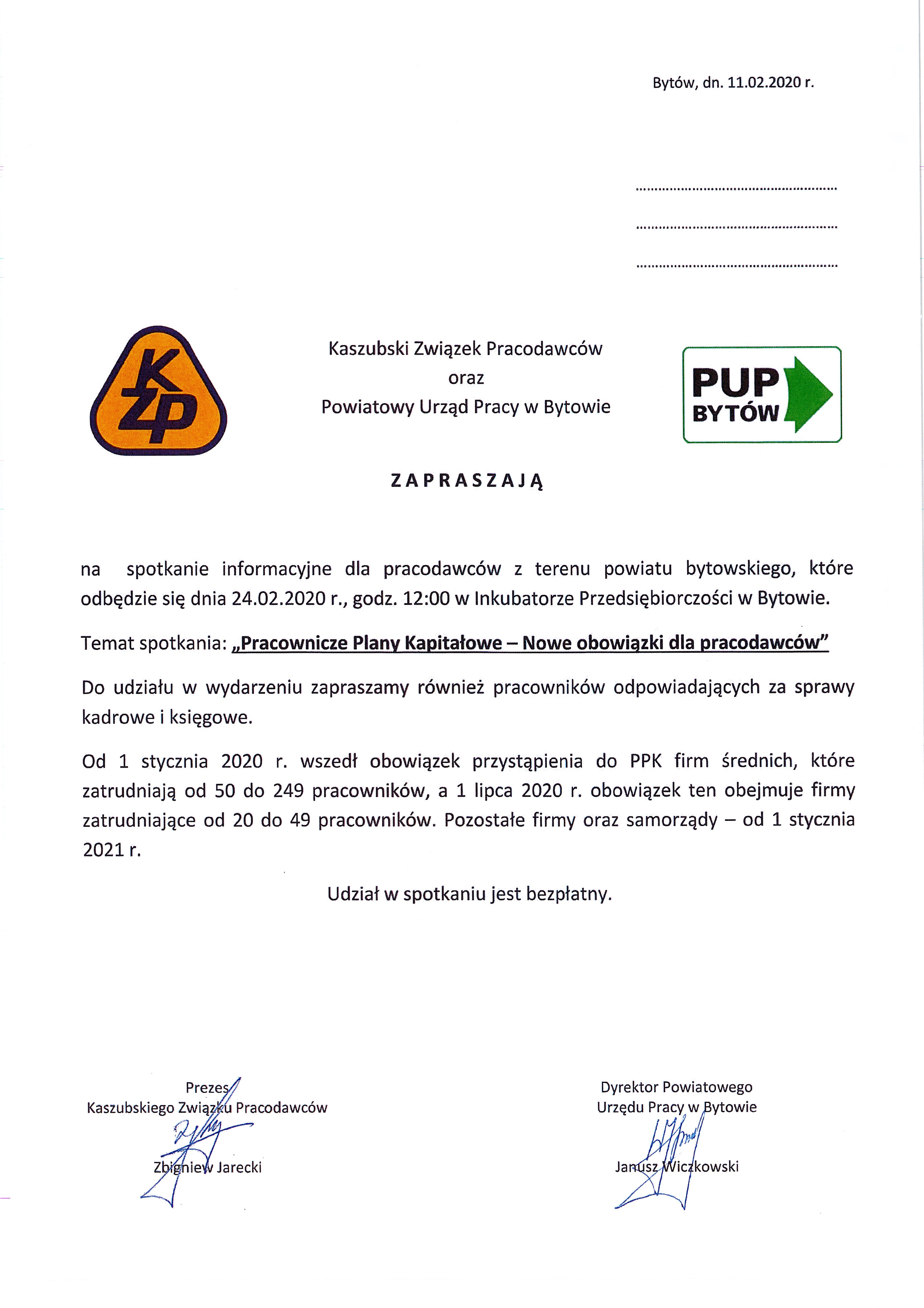 Zaproszenie - Bytów PPK
